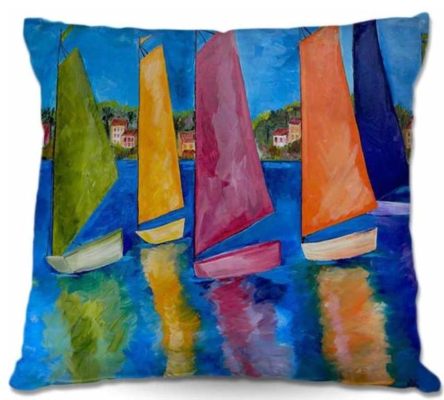 "Throw Pillow Reflections Of Tortola, 18""x18""."