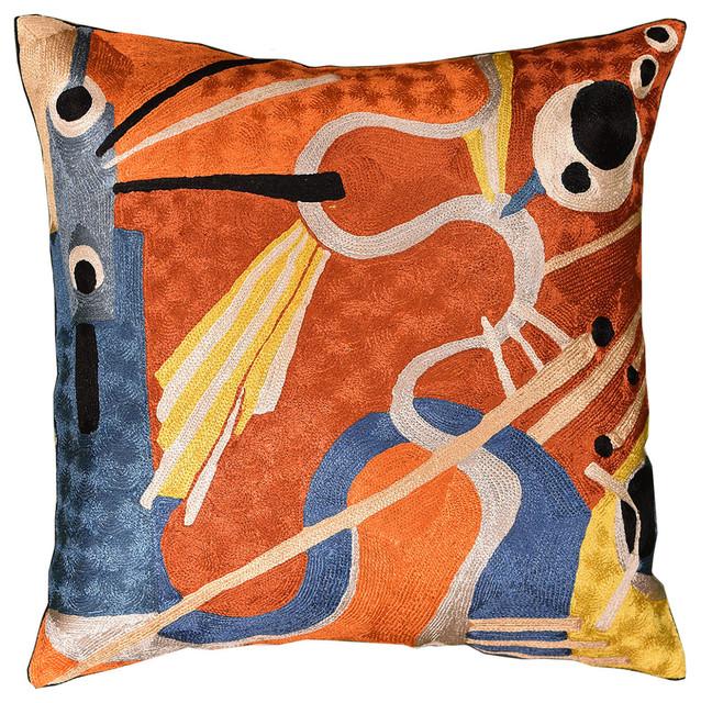 Kandinsky Decorative Pillow Cover Intuitive Flows Iii Rust Art Silk 18″x18″.