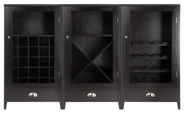 Bordeaux 3 Piece Wine Cabinet Modular Set With Tempered Glass Doors