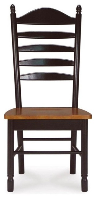 Madison Park Ladder Back Chairs Solid Wood Seat, Set Of 2