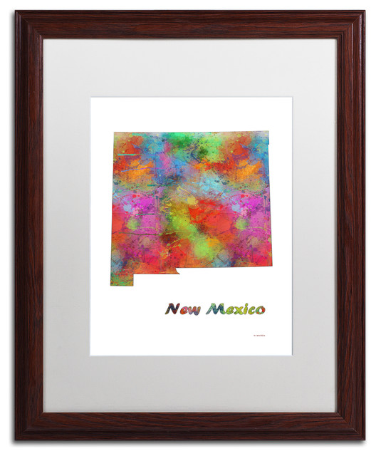 "Marlene Watson &x27;new Jersey State Map-1&x27; Art, Wood Frame, 16""x20"", White Matte."