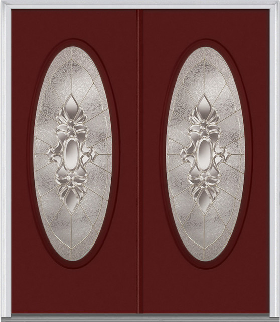 "Heirloom Master Large Oval Steel, Burgundy, 66""x81.75"", Right."