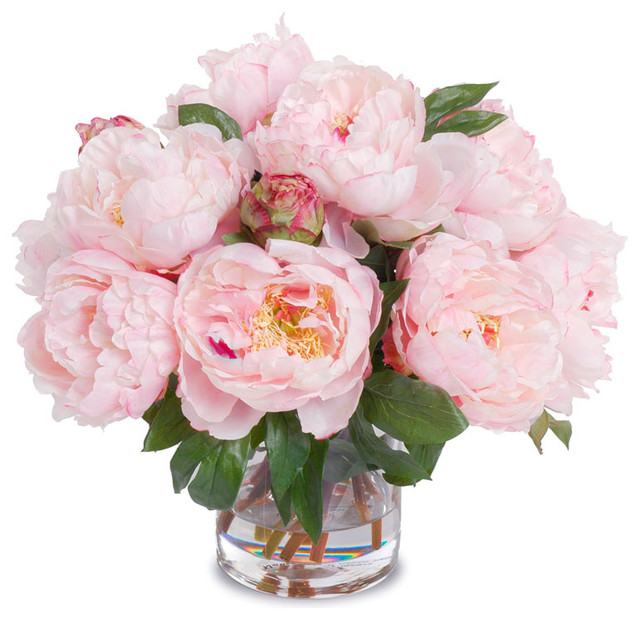 Black Leather Living Room Garden Rose And Peony: Peony Bouquet In Cylinder Vase, Pink