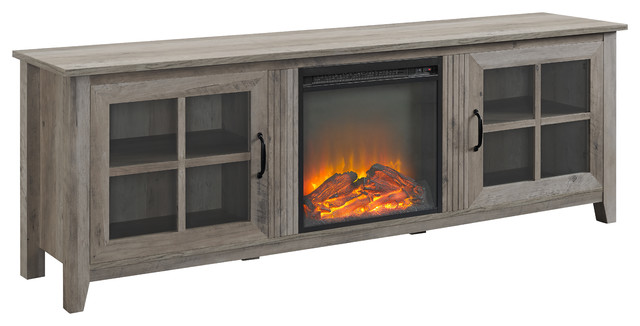 Fantastic 70 Farmhouse Wood Fireplace Tv Stand With Glass Doors Gray Wash Download Free Architecture Designs Scobabritishbridgeorg