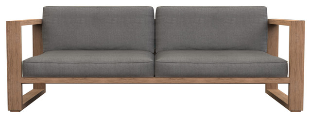 Brixton Teak Lounge Sofa, Natural Weathered Teak, Cast Cast Cast Slate.