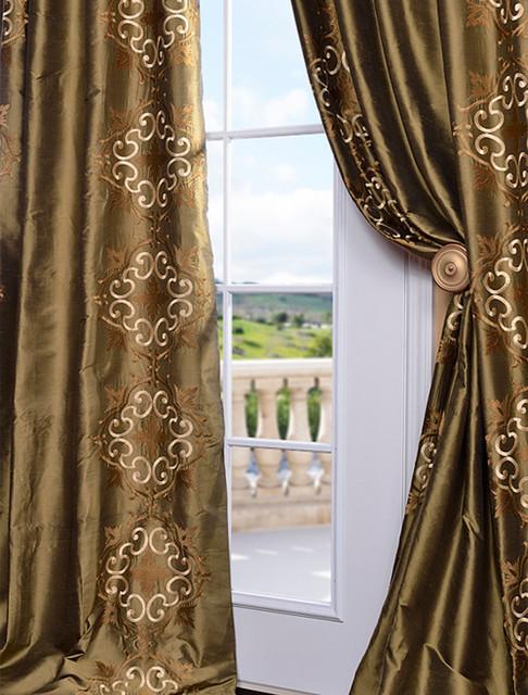 Cassandra Sage Green Thai Silk Curtain Traditional