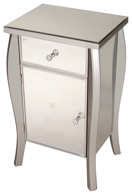 Transitional Mirrored Cabinet, Silver