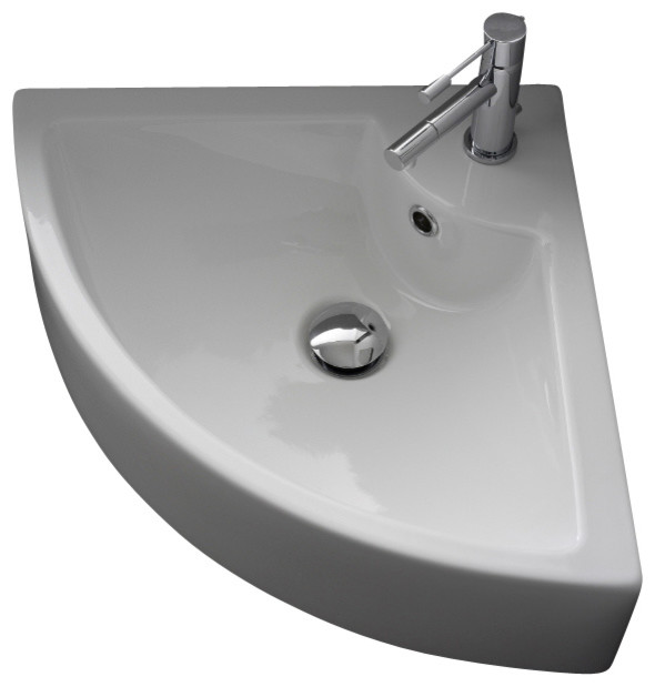 Scarabeo Square White Ceramic Wall Mounted Or Vessel Corner Sink Reviews Houzz