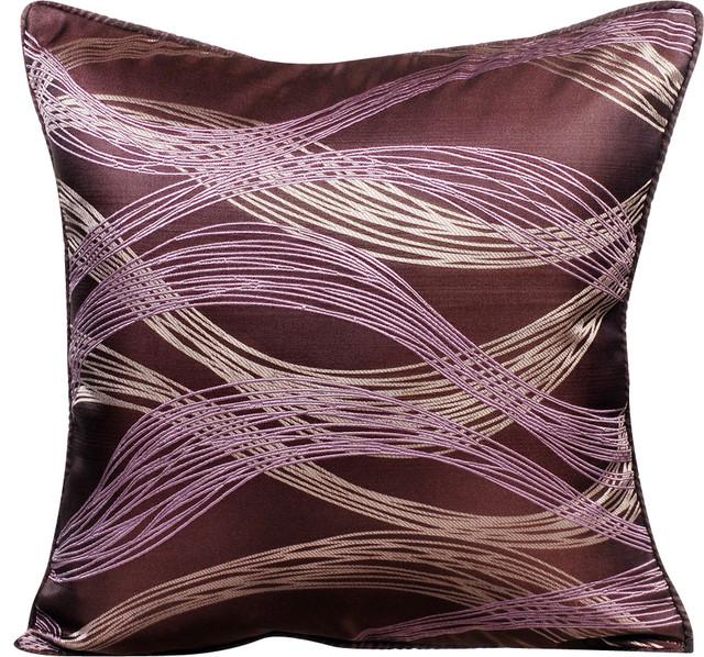 Purple Decorative Pillow Covers 18 X18 Silk Cur