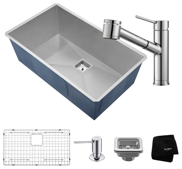"31 1/2"" Undermount Stainless Steel Kitchen Sink, Pull-Down Faucet CH, Dispenser"