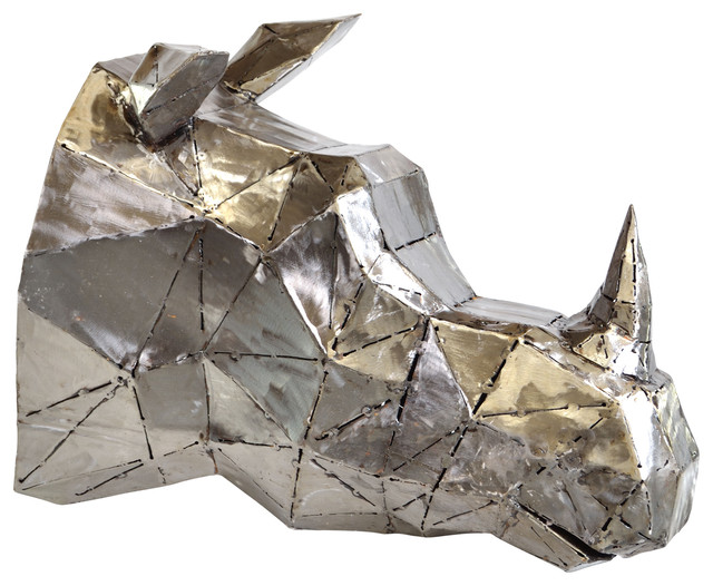"Rhino Head Metal Wall Art, 19""x25""."