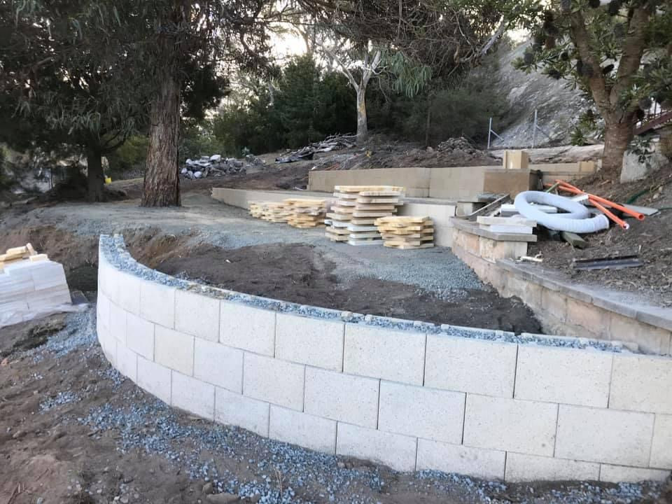 Sandstone paving and retaining wall - Bicheno
