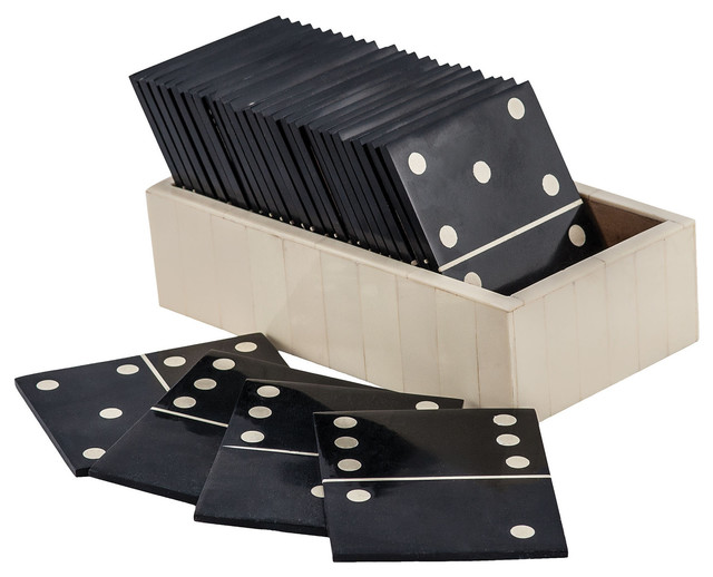Sterling Motto Domino Game, Black, White Finish