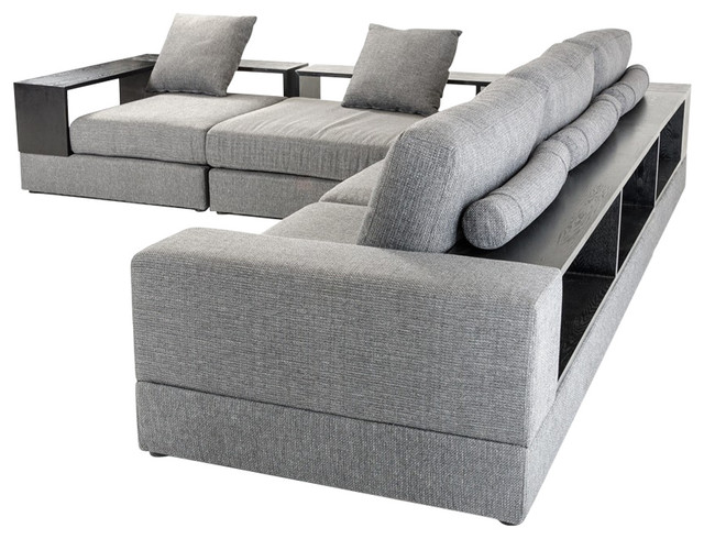Denver Ultra Modern Gray 2 Piece Fabric Sectional Sofa Set