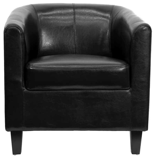 Phenomenal Contemporary Barrel Style Club Chair W Leather Upholstery Bralicious Painted Fabric Chair Ideas Braliciousco