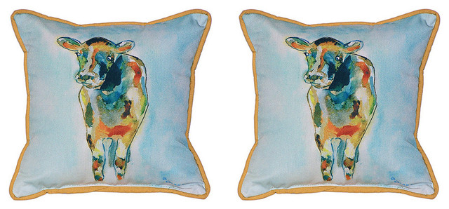 Betsy Drake Betsys Cow Print Decorative Throw Pillows 18 Set Of 2 Outdoor