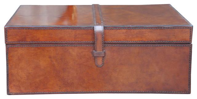 Large Stitched Leather Box