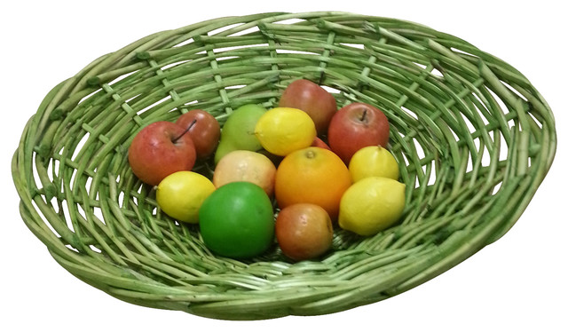 Lime Green Hand Woven Willow Branch Basket Bowl