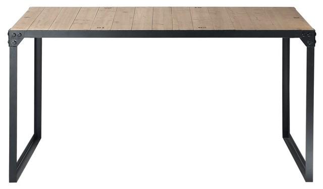 Tavolo Stile Industriale : Tavolo stile industriale per sala da pranzo in legno e metallo l 140