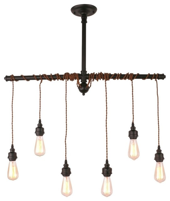 Metal Hanging Pendant Light With 6 Lights, Black.