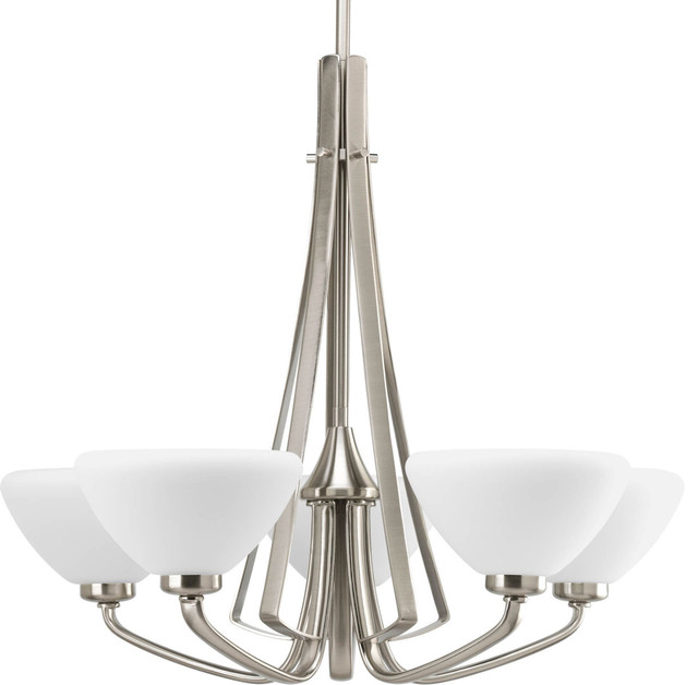 Progress Lighting 5-60w Candle Chandelier, Brushed Nickel.