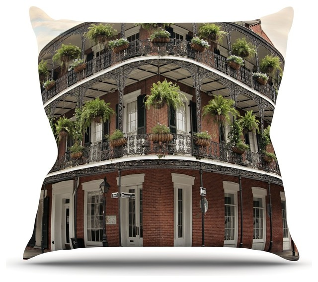 Sylvia Cook New Orleans Street Corner Green Brown Throw Pillow