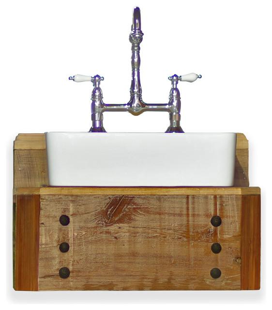 Reclaimed Wood Floating Bath Vanity Rectangular Vessel Sink Console Package