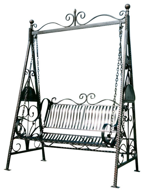 Park Avenue Collection Rockaway Garden Swing Traditional Porch Swings on synthetic wood outdoor furniture