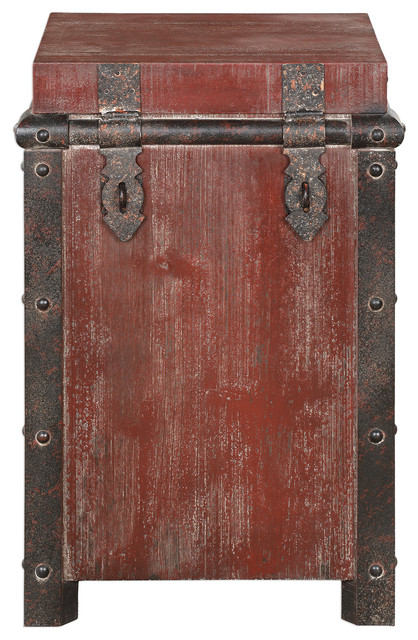Antique Style Burgundy Red Iron Storage Table Chest Old World Box Accent