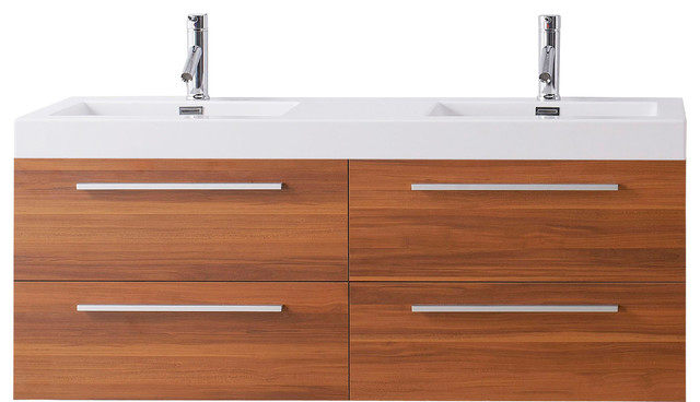 """Zurich Double Vanity, Wood With Polished Chrome Faucet, 54""""."""