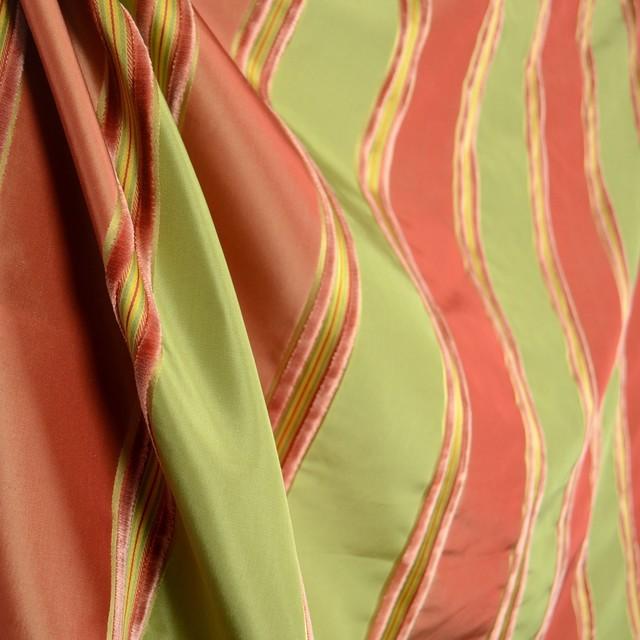 Worldwide Ivana Coral Terra Cotta Peach Olive Green Silk