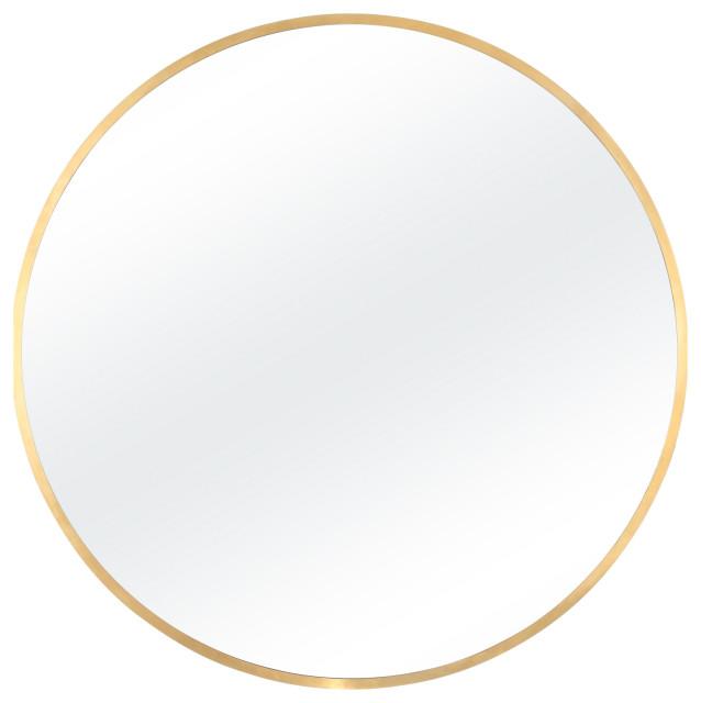 """Alan Round Bathroom Mirror, Brushed Brass, 36"""""""