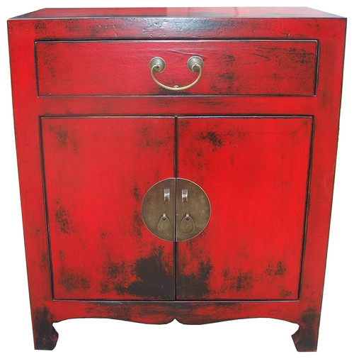Oriental Cabinet 2 Doors, Shelf, Drawer, Red Lacquer