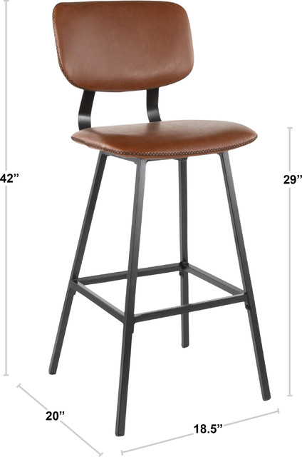 Magnificent Foundry Barstool Set Of 2 Black Metal Cognac Pu Brown Zig Zag Stitching Ncnpc Chair Design For Home Ncnpcorg