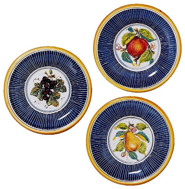 Toscana, Fruit Wall Plates Apple, Pear, Grape, Set of 3, 8\