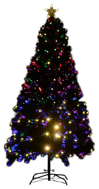 homcom 6 artificial pre lit white led christmas tree w star topper contemporary - Pre Lighted Christmas Trees