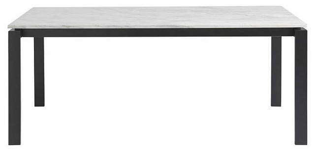 Universal Spaces Hamilton Rectangular Dining Table, White Marble Top