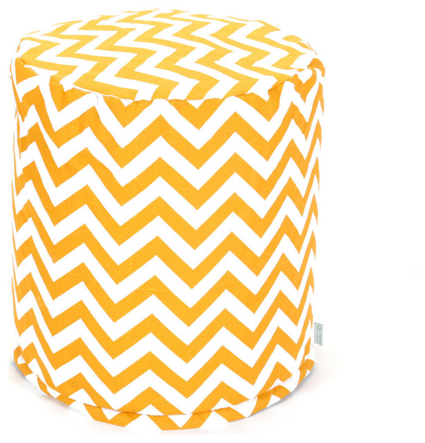 Outdoor Chevron Small Pouf, Yellow