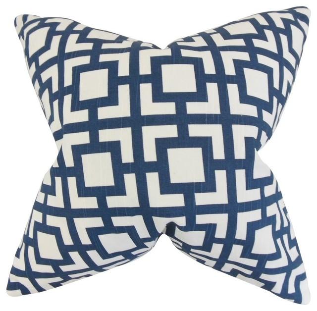 "Callas Geometric Pillow, Navy 18""x18""."