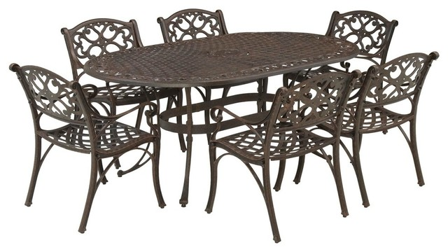 Biscayne 7 Piece Dining Set, Brown Traditional Outdoor Dining Sets