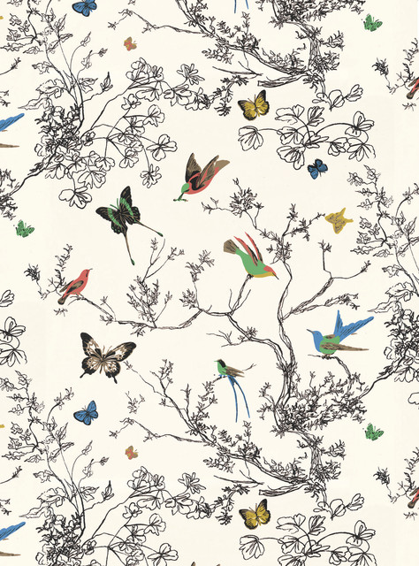 Schumacher Birds Butterflies Vinyl Wallpaper Multi On White Double Roll Contemporary Wallpaper By Schumacher