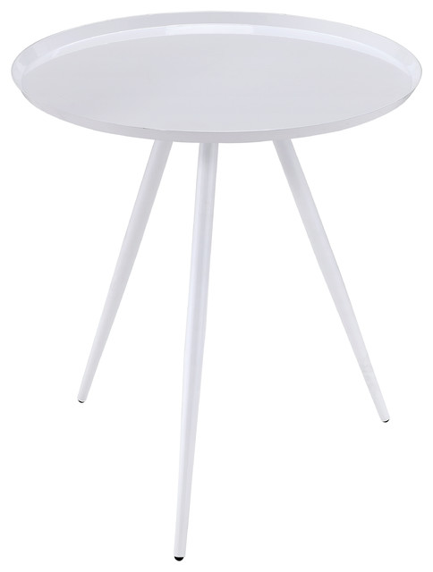 Dina Mid-Century Modern Round Side Table, White.