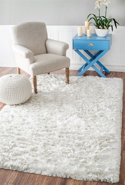 Shag Latonia Silken Area Rug, Rectangle, Pearl White, 7&x27;6x9&x27;6.