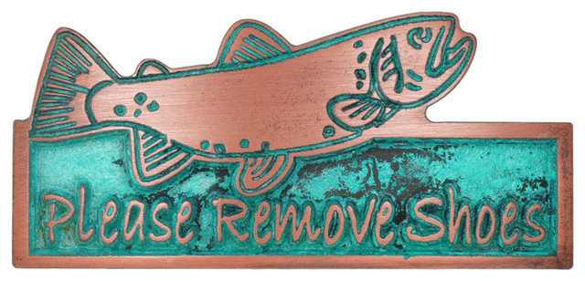 "mini trout please remove shoes plaque 8""x3.5"" - tropical - house"
