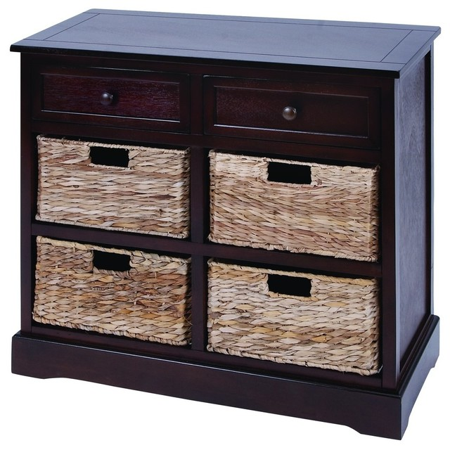 Mastercraft Basket Cabinet With 4 Wicker Baskets - Beach Style ...