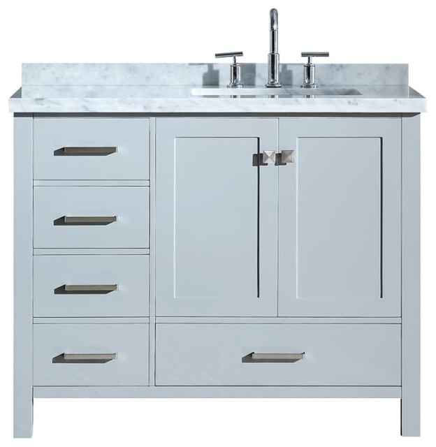 "Cambridge 43"" Bath Vanity, Gray With Marble Top, Carrara White/white Basin."