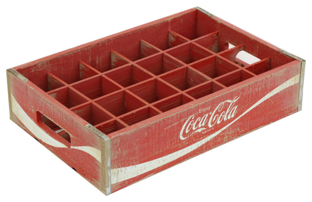 Vintage Inspired 24-Grid Divided Coca-Cola Crate