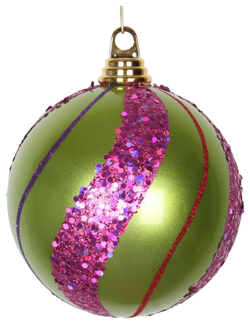 4 Purple Pink Turquoise Green Beads glitter Shatter Resistant Christmas Ornament