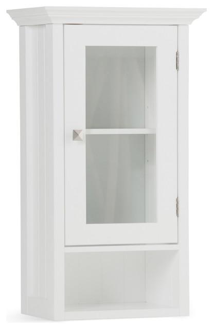 Acadian Single Door Wall Cabinet, White.