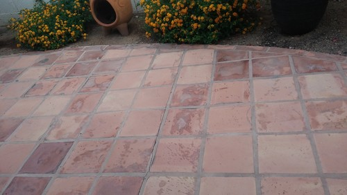 I Have A Patio Full Of 25 Year Old Saltillo Tile That Has Been Exposed To The Elements Spills Etc And It Shows Photo Is Attached